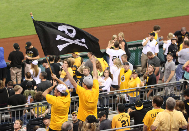 Pirates fans with the Jolly Roger