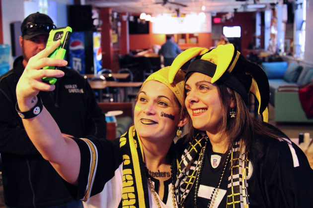 Two Steelers fans taking a selfie