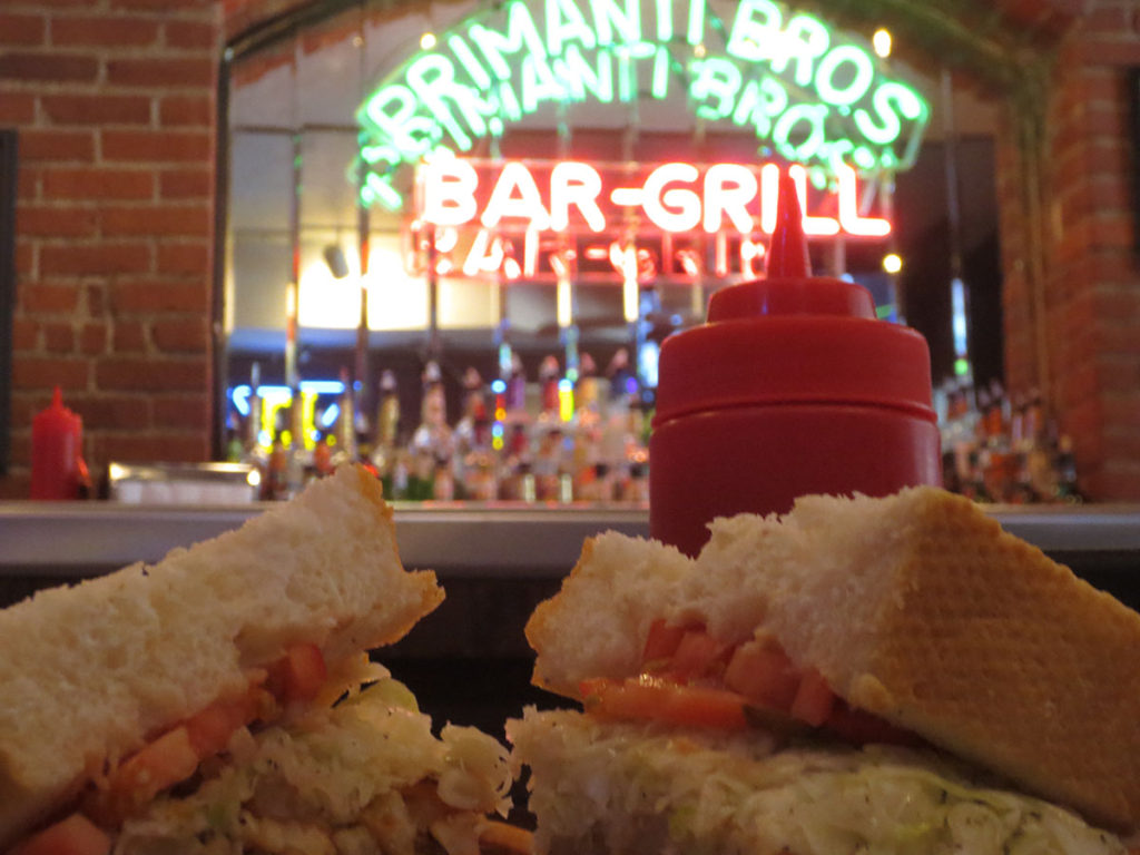 Barside with an HBK sandwich at Primanti's